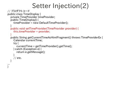 exle of setter dependency injection xutp chapter26 dependency injection