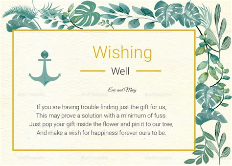 wishing well card template nautical wishing well card template in psd word