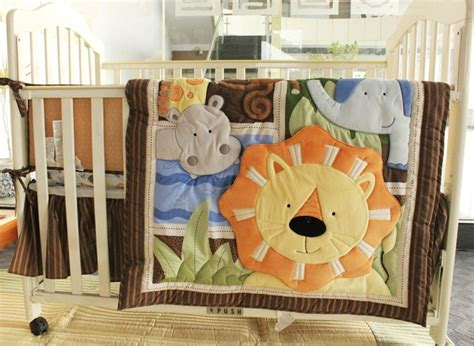 Baby Crib Bedding Patterns 7 Pieces Embroidered Africa Pattern Boy Cot Crib Baby Bedding Set Quilt Bumper Bed Skirt
