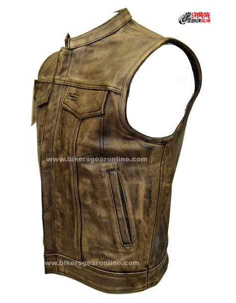leather biker vest men s distressed brown leather motorcycle club vest