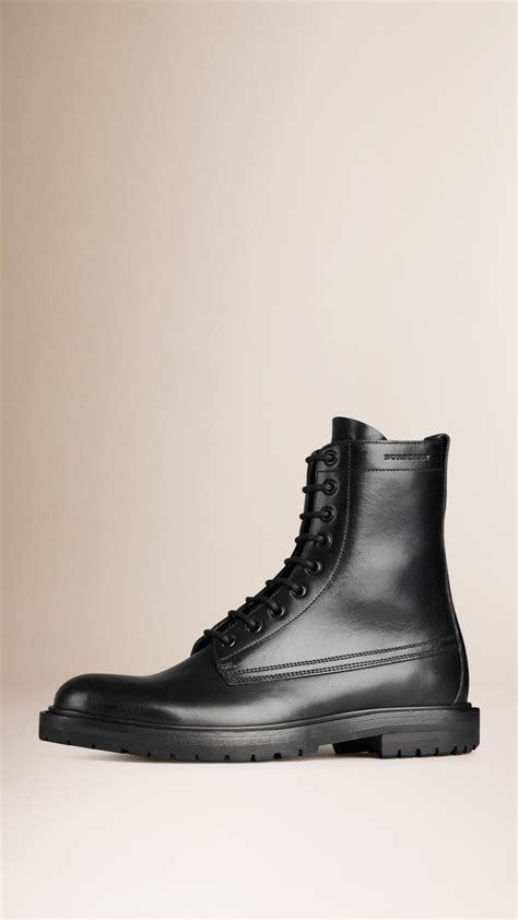 burberry boots mens lyst burberry leather boots in black for