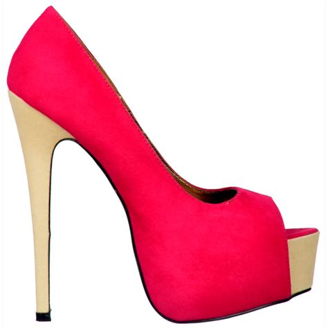 high heels onlineshoe two tone suede peep toe high heels concealed