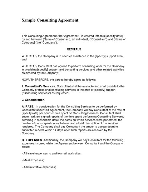 10 Best Images Of Consulting Agreement Template Consulting Contract Agreement Template Consulting Contract Template