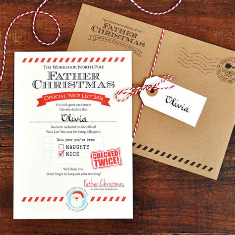 letters from father christmas personalised letter from father christmas nice list by eskimo kiss designs