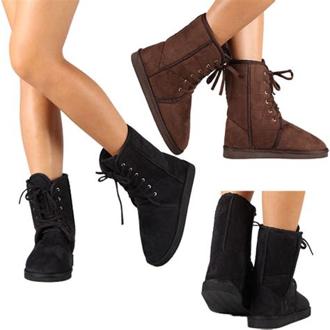 womens fashion winter boot faux suede fur shoes warm mid