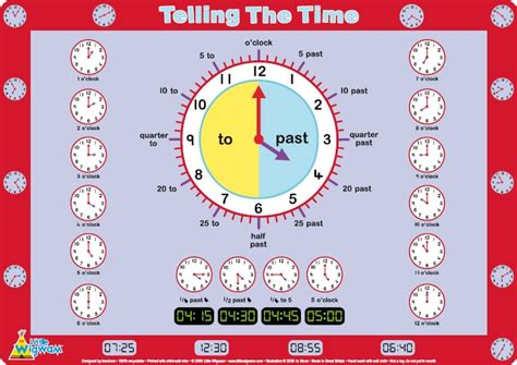 The Time wigwam telling the time placemat for children