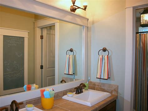 How To Frame An Existing Bathroom Mirror Update Any Mirror With Trim Color Me Southern