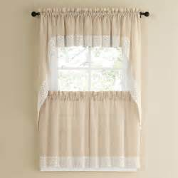 63 Inch White Curtains French Vanilla Country Style Kitchen Curtains With White