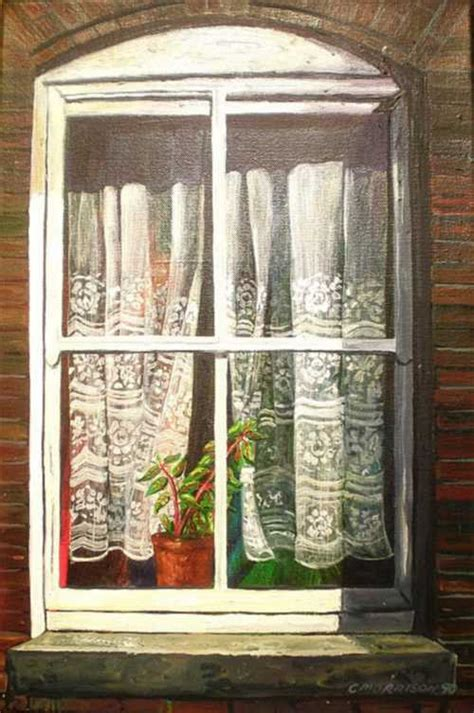 Oils original oil painting window with lace curtains and plant by c morrison 1990 was sold