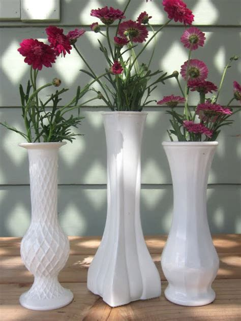 homespun with diy milk glass vases