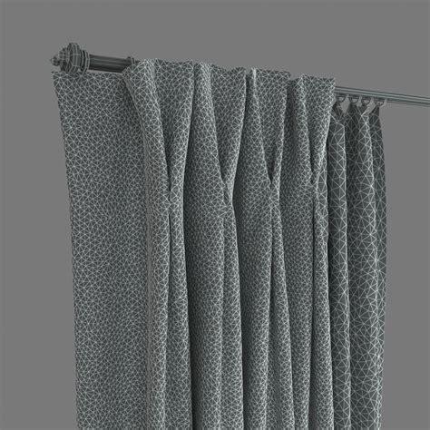 double pleat curtains double pinch pleat curtains 3d model max obj fbx