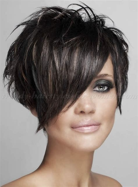 hair styles with slanted fringes 20 short spiky hairstyles for women bangs short hair
