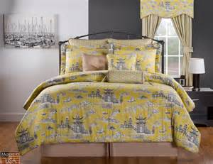 10pc black taupe gray yellow asian garden design 100 cotton comforter