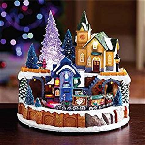 holiday memories lighted village and train music box winter musical with led