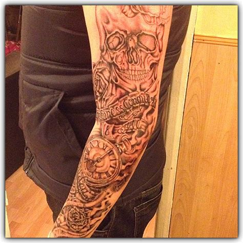 skull rose sleeve tattoo black and grey skull and roses sleeve pocket