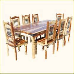 Rustic 9pc dining room table chairs set furniture w wrought iron for 8