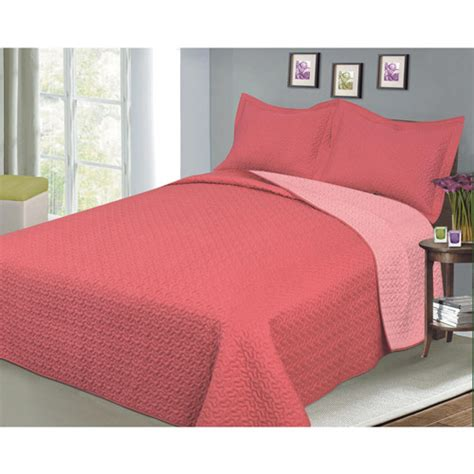 coral color bedding luxury fashionable reversible solid color bedding quilt