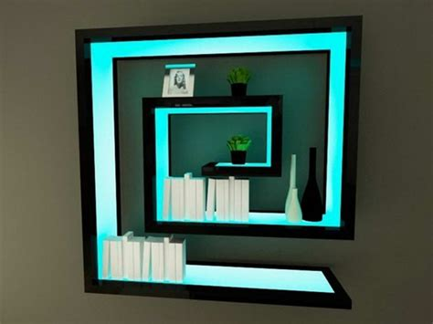 wall shelves with lights black wall shelves with blue cyan light home decor
