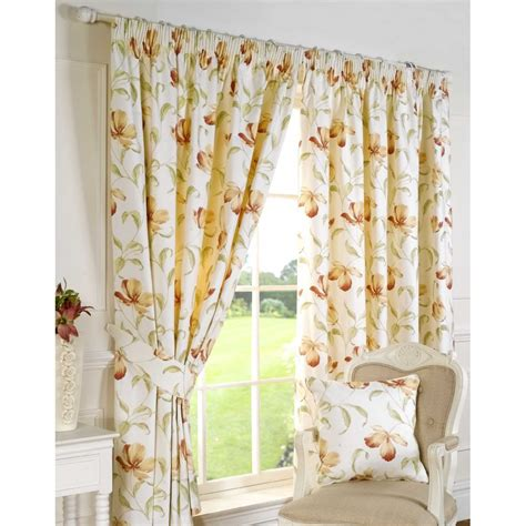 Sundour Ascot Peach Floral Readymade Pencil Pleat Curtains