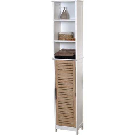 wooden freestanding narrow linen cabinet with open