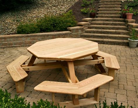 picnic tables furniture hexagon table picnic table plans with separate