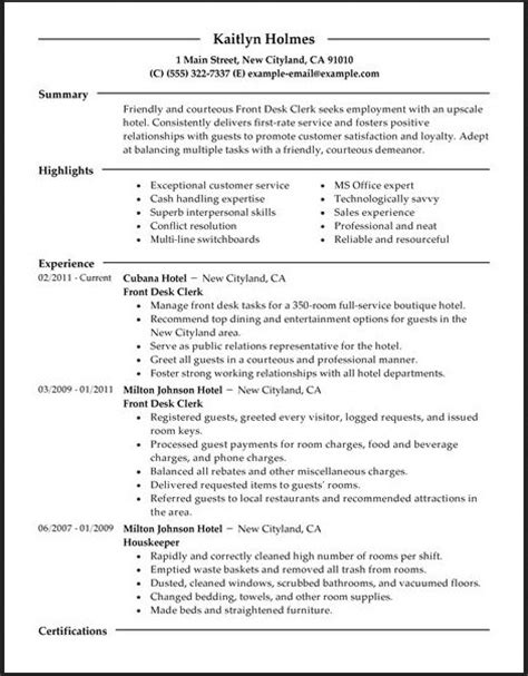 Resume Sles For Hotel Receptionist Front Desk Hotel Resume Resume Format