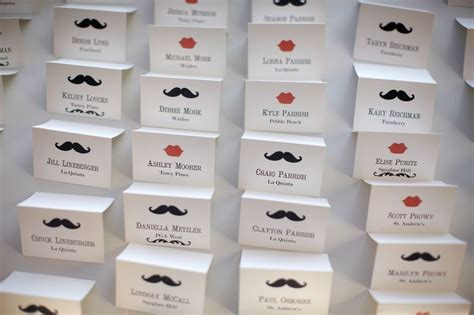 Handmade Place Cards For Weddings - made custom wedding place cards mustache and