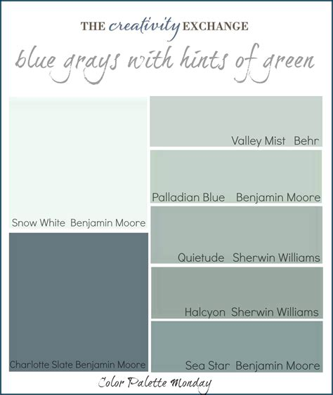 grayish blue paint color palette monday 1