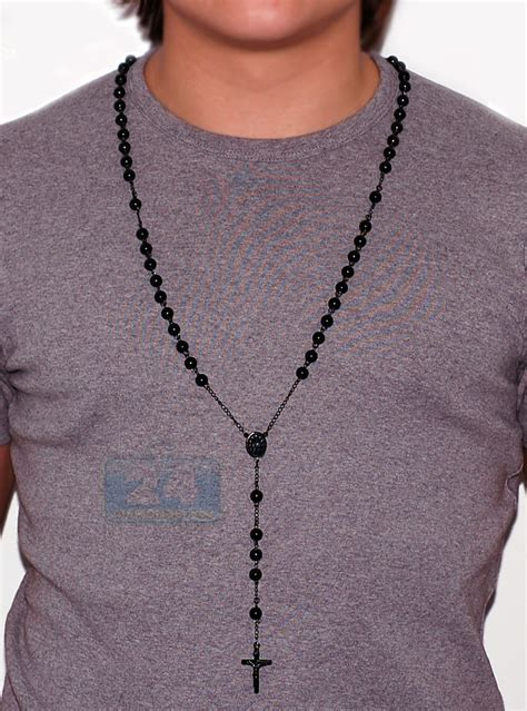 mens rosary black pvd stainless steel mens rosary necklace 22 1 2 inches