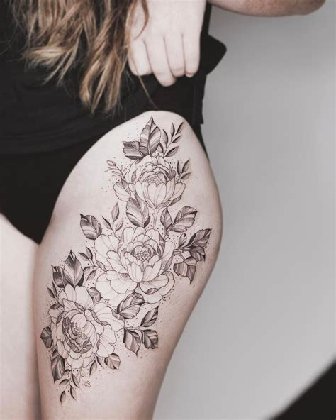 floral thigh tattoo floral thigh one sitting tattoos on