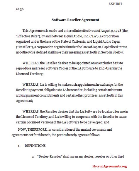 Software Reseller Agreement Sle Software Reseller Agreement Software Reseller Agreement Template