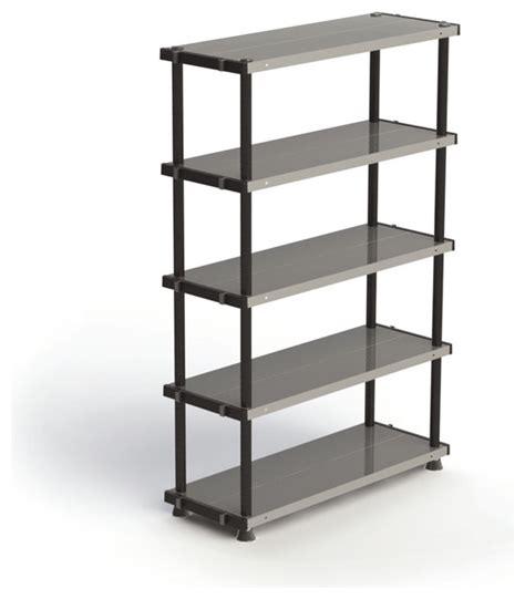 adjustable metal plastic 5 tier shelf black 18 x24