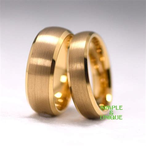 Wedding Rings For Couples by Tungsten Ring Matching Wedding Bands Gold Plated