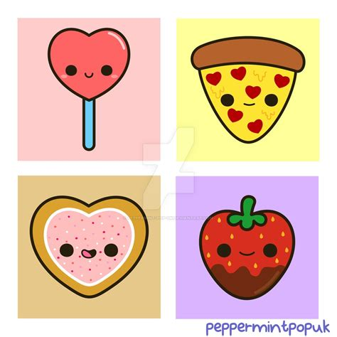 Cute food themed Valentine illustrations by peppermint pop