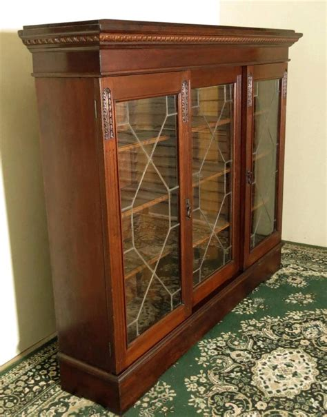 Antique China Cabinet With Glass Doors Antique Walnut Bookcase Sliding Glass Doors Display Cabinet China Cabinet C1900s Ebay