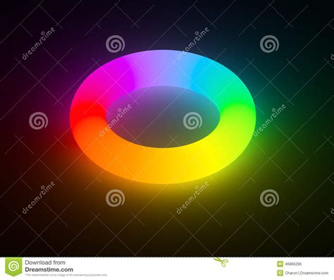 color glo rainbow color light glowing ring isolated stock