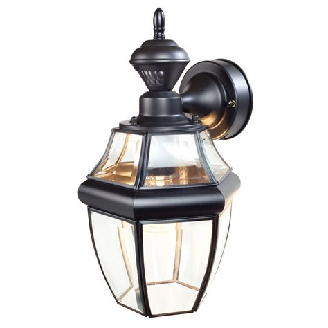 Motion Activated Light Outdoor Shop Secure Home Hanging Carriage 14 5 In H Black Motion Activated Outdoor Wall Light At Lowes