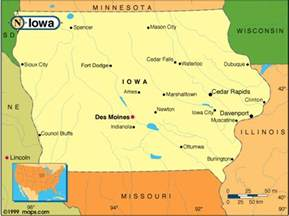 where is iowa on the map of united states iowa map