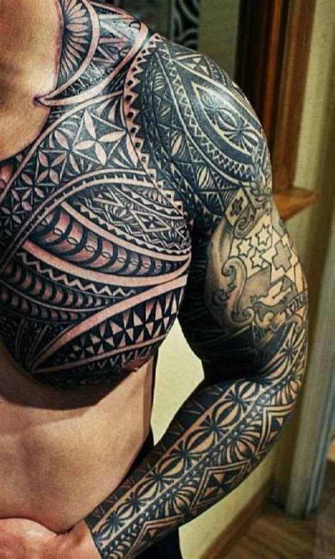 tattoo on chest and upper arm aztec tattoo motif to chest and arm ideas tattoo designs