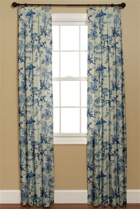 blue and white window curtains inverted box pleat curtain yosca blue asian curtains