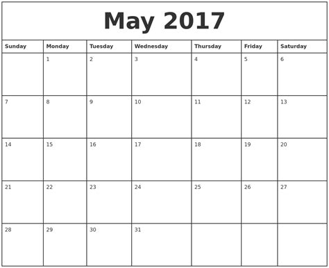 printable monthly calendar 2017 pdf may 2017 printable monthly calendar