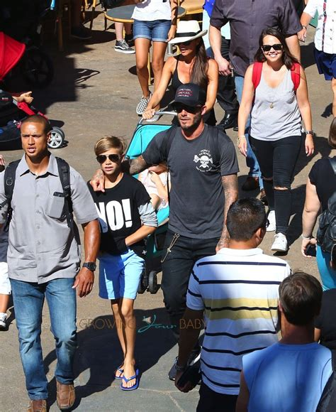 Beckhams Hit Disneyland by David At Disneyland With And Romeo