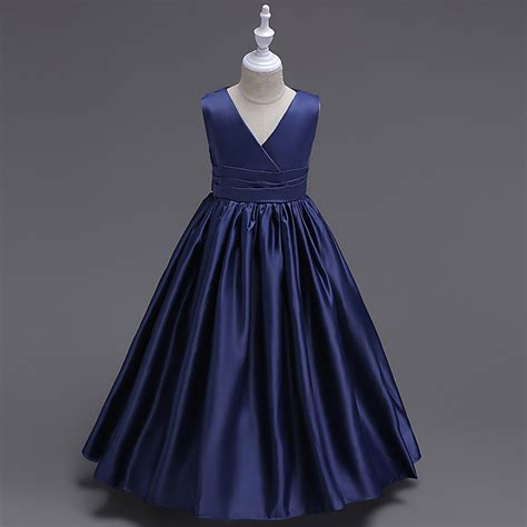Funkids Varisha Size S Blue 2 14y navy blue princess prom dress children s graduation dress clothes v