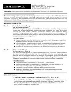 example implementation manager resume sample