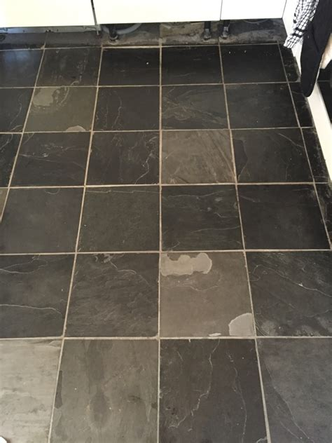 Slate Floor Shine by Dull Slate Tiled Kitchen Floor Refreshed In Oxford Tile