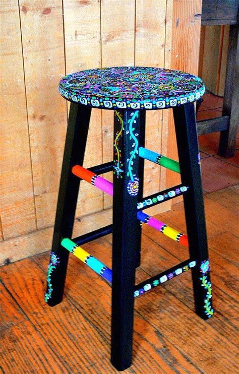 Stool Painting by Items Similar To Funky Painted Stool On Etsy