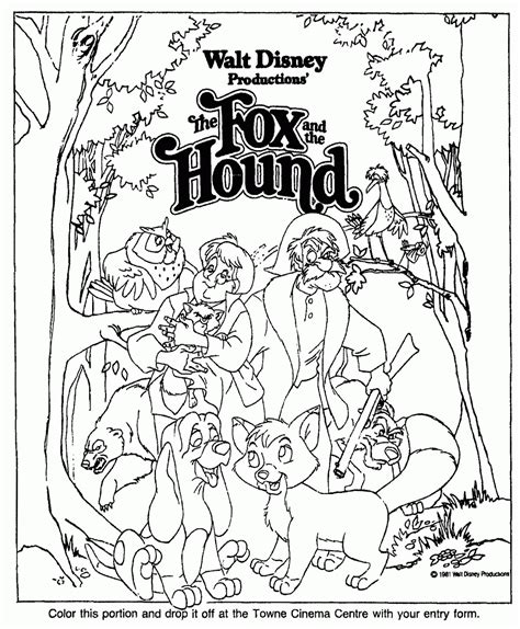 coloring pages for fox and the hound fox and the hound coloring page coloring home
