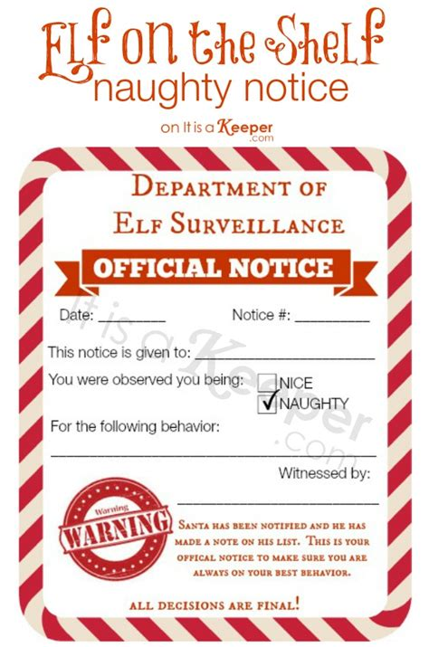 elf on the shelf official warning printable free printable elf on a shelf naughty nice notices diy