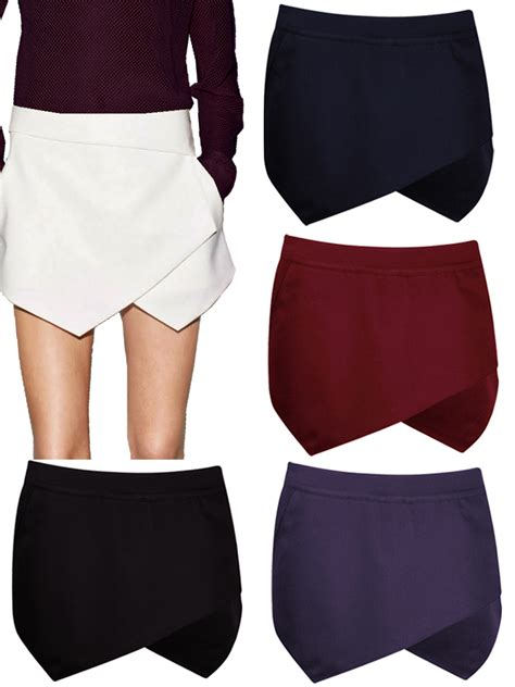 irregular mini wrap plain side zip skirt shorts skorts