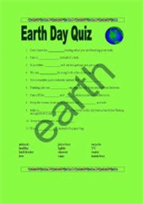 earth day quiz teaching worksheets earth day
